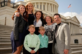Director Sarah McCarthy (second from left) and the Diaz family on Capitol Hill