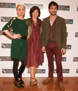Christine Bottomley, Frances Lea and Emun Elliott at the Strawberry Fields premiere