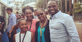 (L-R) Priscilla Delannay, FEMI film festival; Patricia Monpierre, APCAG; Nneka Luke, trinidad+tobago film festival; and Bahamian filmmaker and 'The Cinema' series host Travolta Cooper.