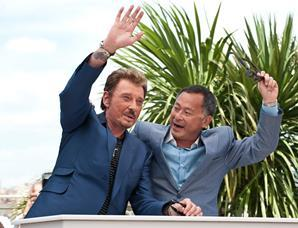 "(L-R) Actor Johnny Hallyday and director Johnnie To at the photo call of ""Vengeance"" at the 62nd Cannes Film Festival in Cannes"