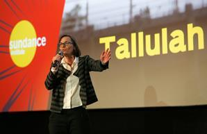 Director of Programming and Aquisitions at Picturehouse Cinemas Claire Binns speaks on stage during the intro of the 'Tallulah' Premiere at the Sundance Film Festival: London at Picturehouse Central