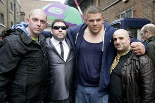 Credit: DemonPhotography - director Steve Lawson with Ricky Grover, Ashleigh Thomas and Omid Djalili