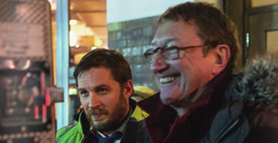 Steven Knight on set of Locke with Tom Hardy