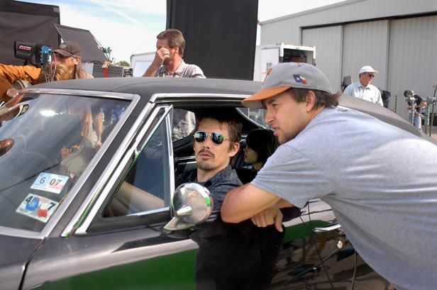 Richard Linklater on set of Boyhood with Ethan Hawke